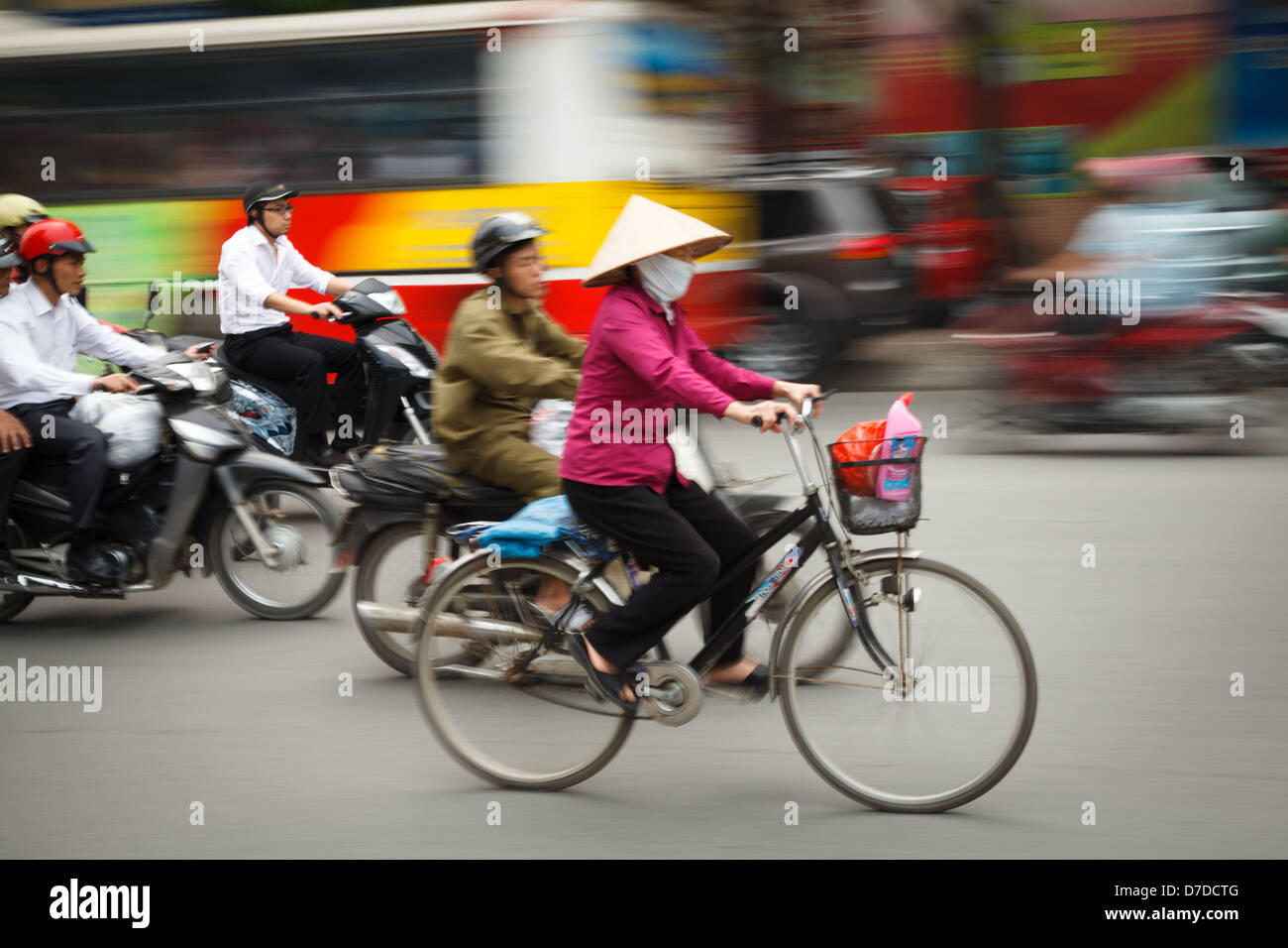 Traffic in Hanoi, Vietnam - Stock Image