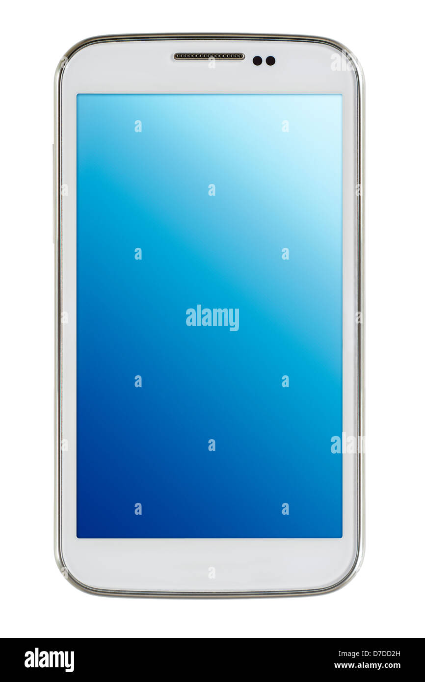 White smart phone on white background - Stock Image