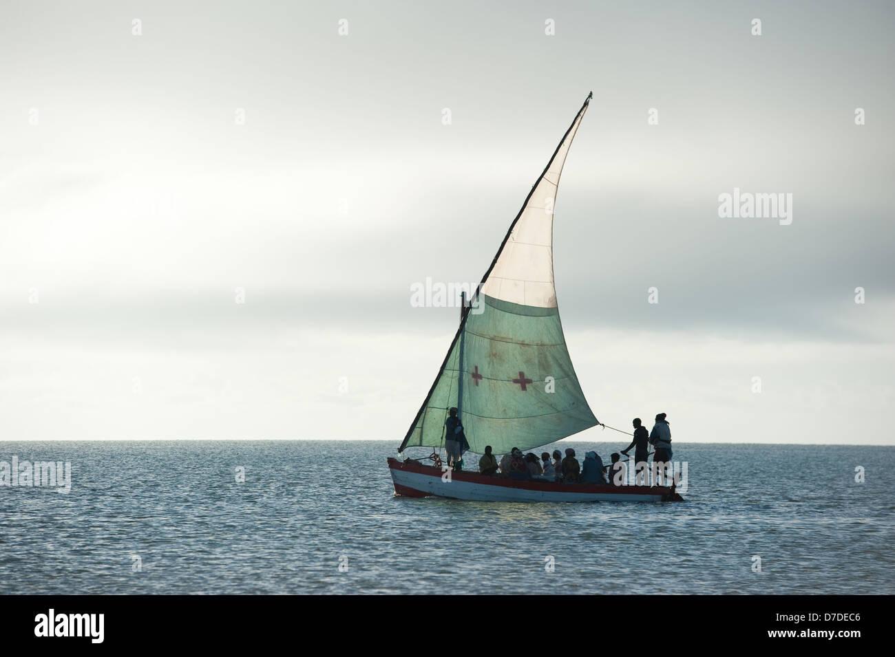 Passenger dhow, Vilanculos, Mozambique - Stock Image
