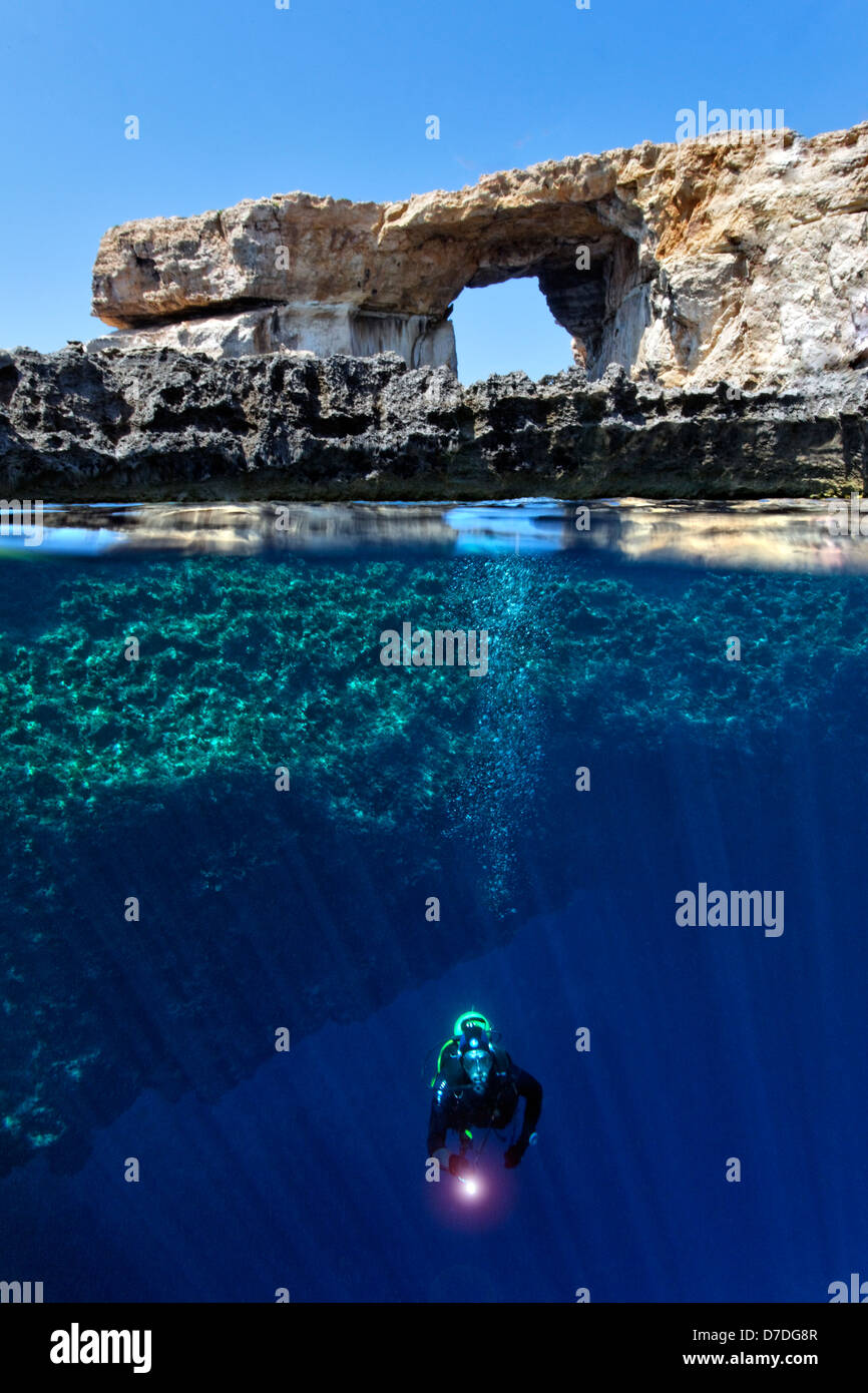 Scuba Diver at Azure Window, Gozo, Mediterranean Sea, Malta - Stock Image