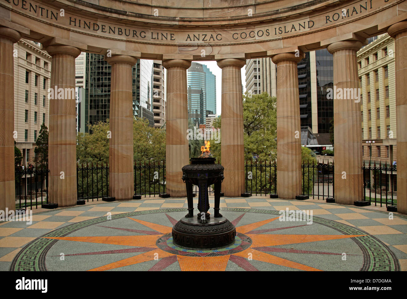 war memorial The Shrine of Remembrance in ANZAC Square with its Eternal Flame in Brisbane, Queensland, Australia - Stock Image