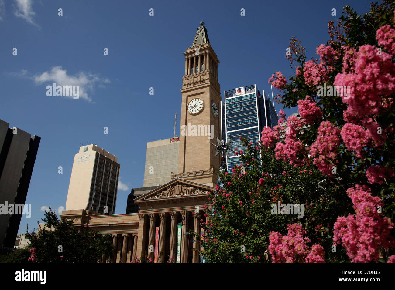 City Hall with clock tower in Brisbane, Queensland, Australia - Stock Image