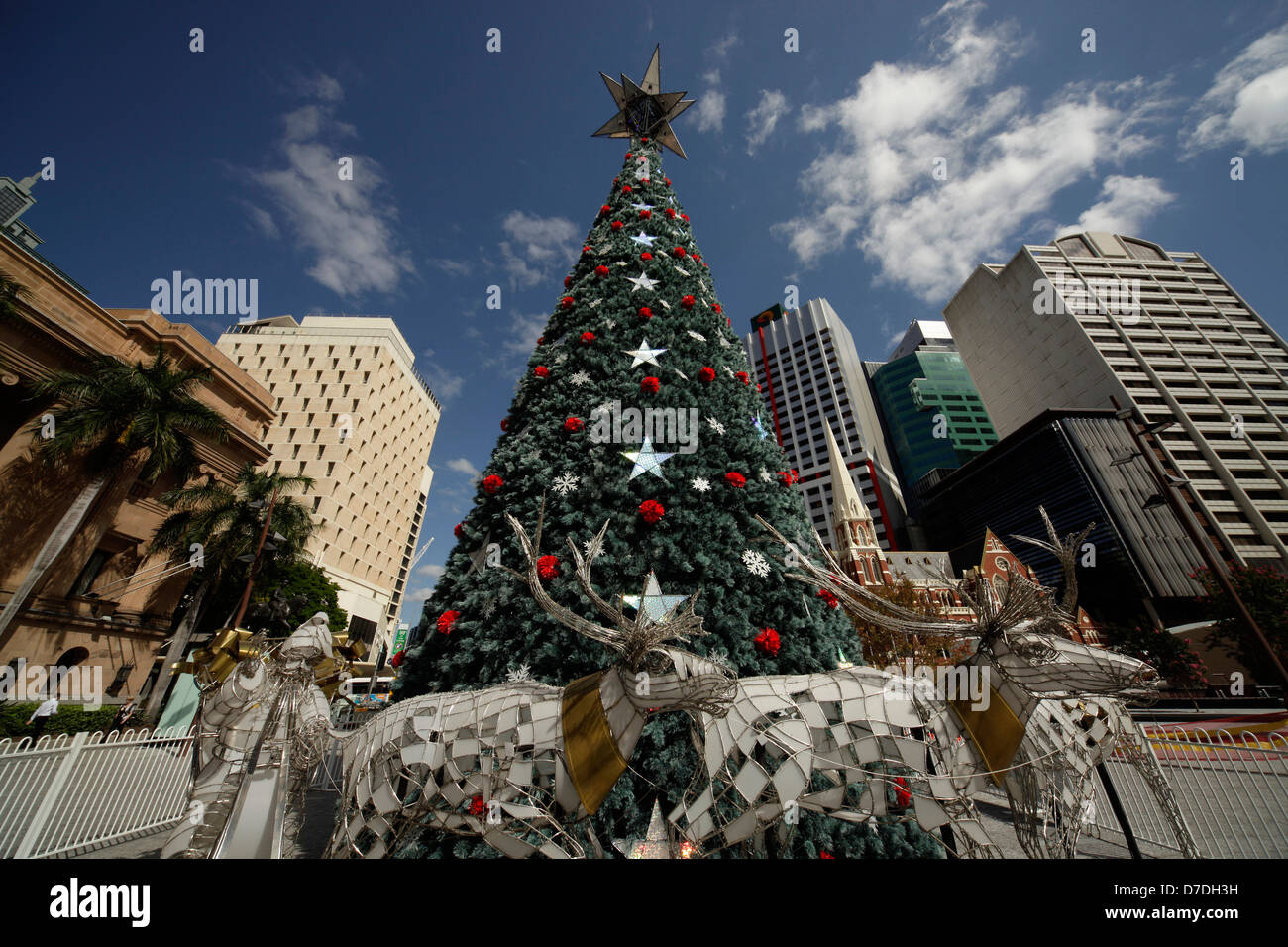 christmas tree on King George Square in Brisbane, Queensland, Australia - Stock Image