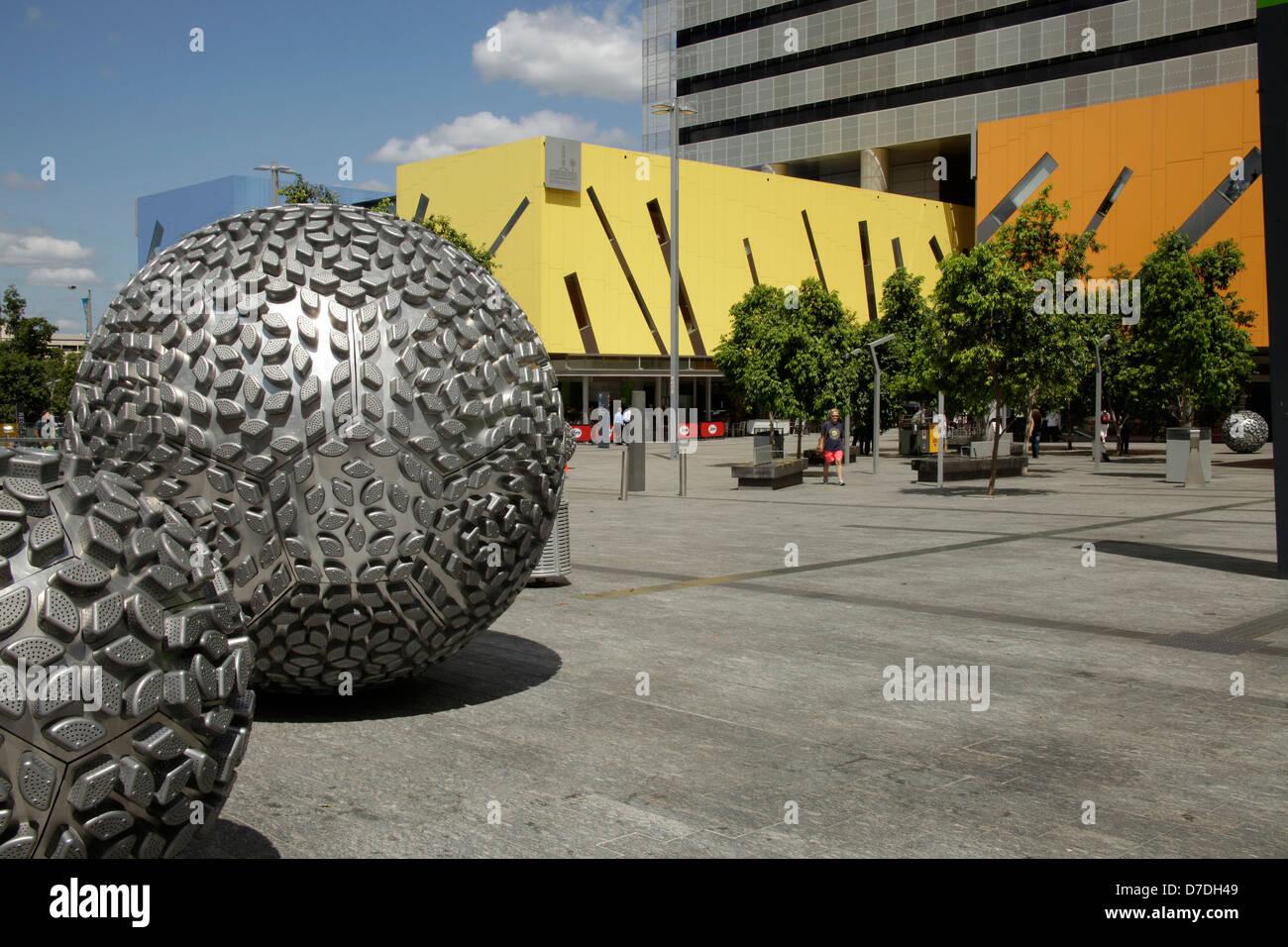 modern Architecture with silver balls in Brisbane, Queensland, Australia - Stock Image
