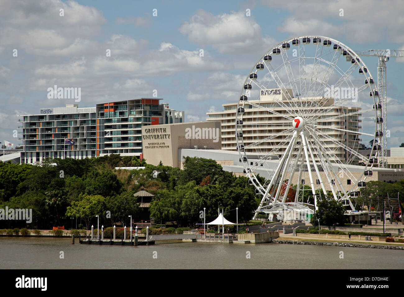 giant ferris wheel of Brisbane and Griffith University on South Bank in Brisbane, Queensland, Australien - Stock Image