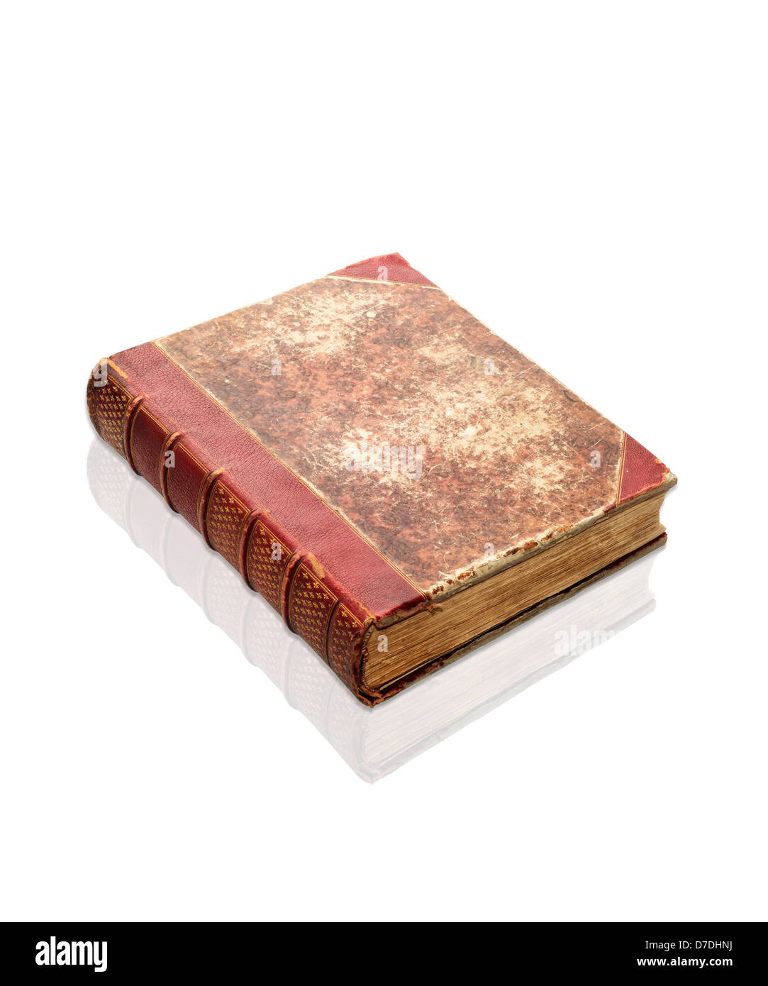 Old decrepit XIXth century book isolated on white, clipping path - Stock Image