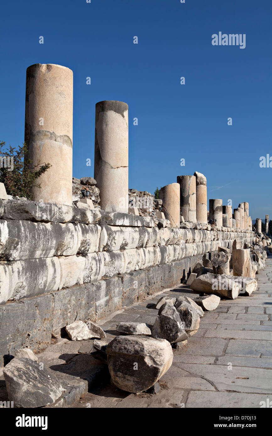 Colums of marble street in Ephesus - Stock Image