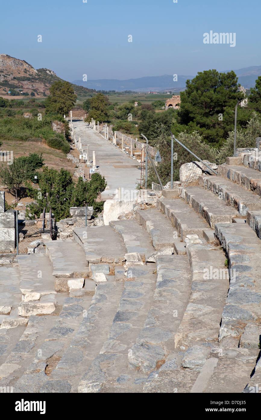 View of Horbour street from theatre, Ephesus, Izmir, Turkey - Stock Image