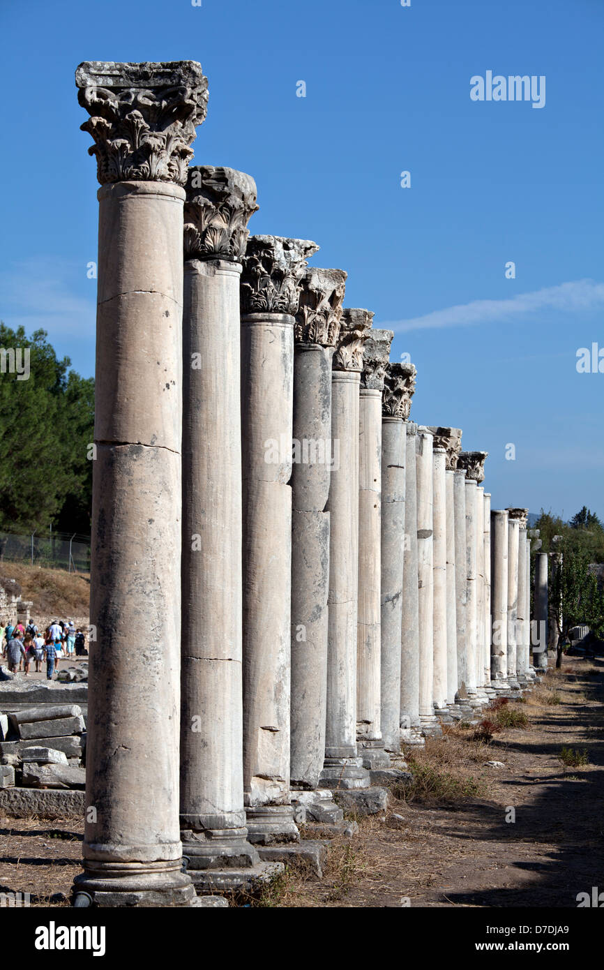 Colums in The Western Gate of Agora in Ephesus, Izmir, Turkey - Stock Image
