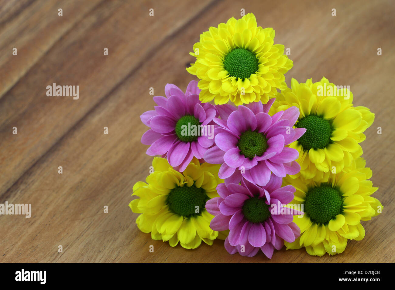 Yellow And Pink Santini Flower Bouquet On Wooden Surface With Copy