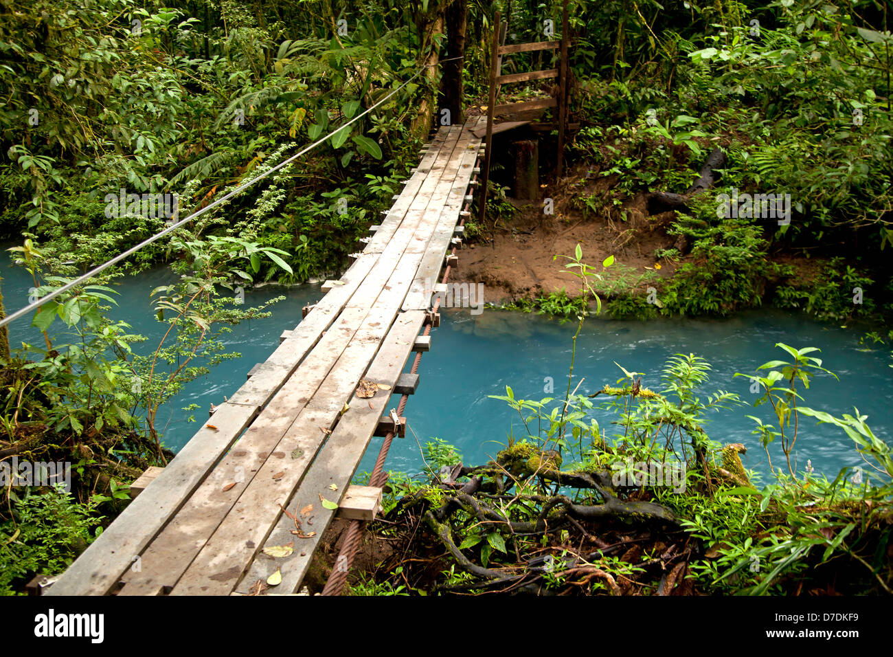 Suspension bridge over the blue waters of the Rio Celeste in Volcán Tenorio National Park, Costa Rica, - Stock Image