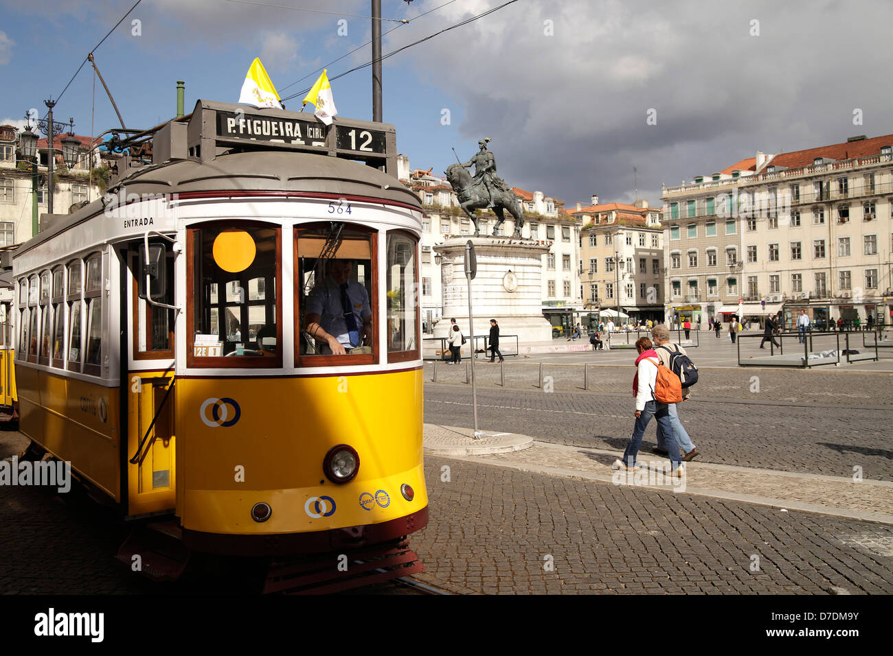 Historic Tram Line 12 on Square PraTa da Figueira in Lisbon, , Europe - Stock Image