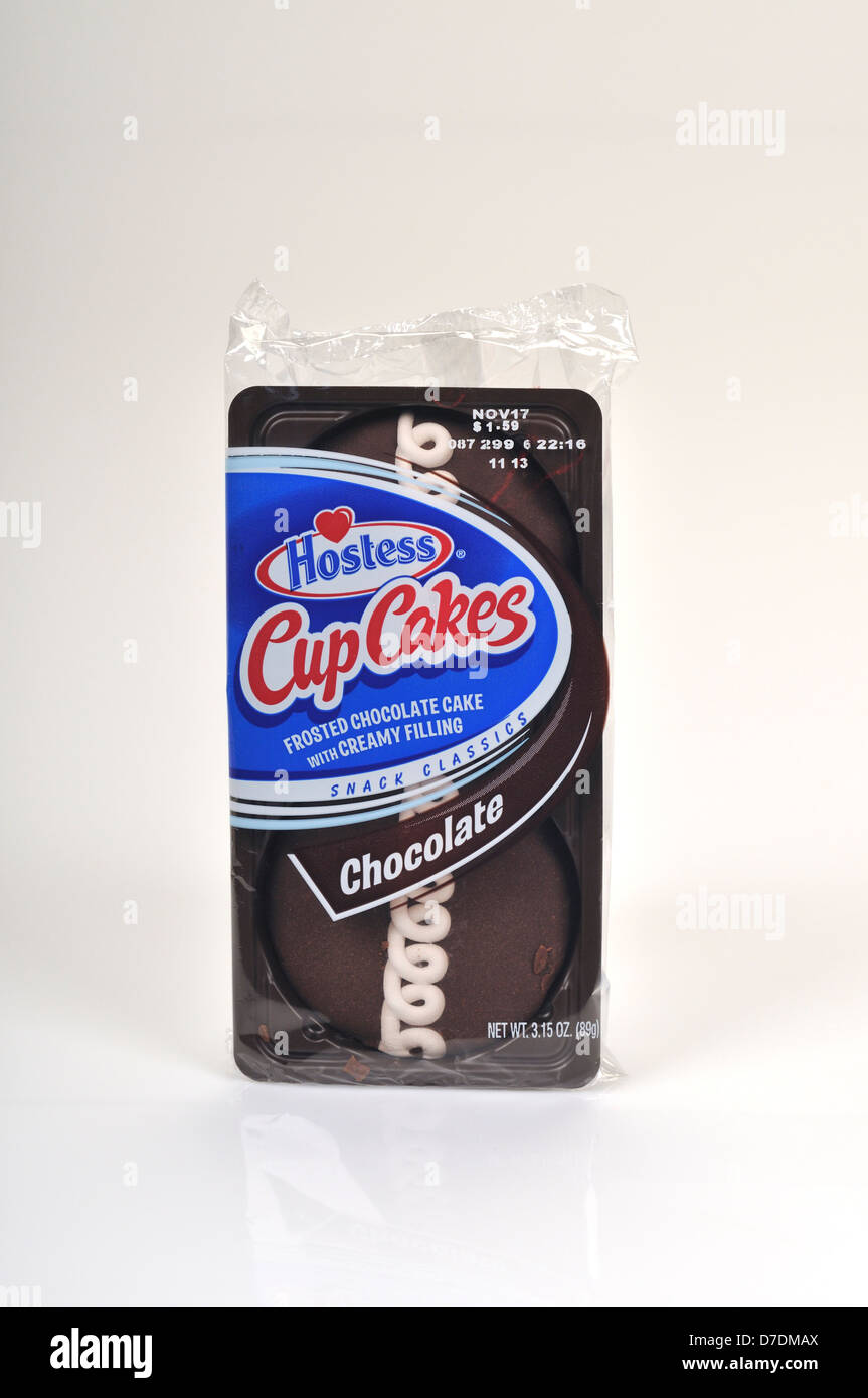 Package of Hostess Cup Cakes Chocolate on white background, cutout. USA - Stock Image