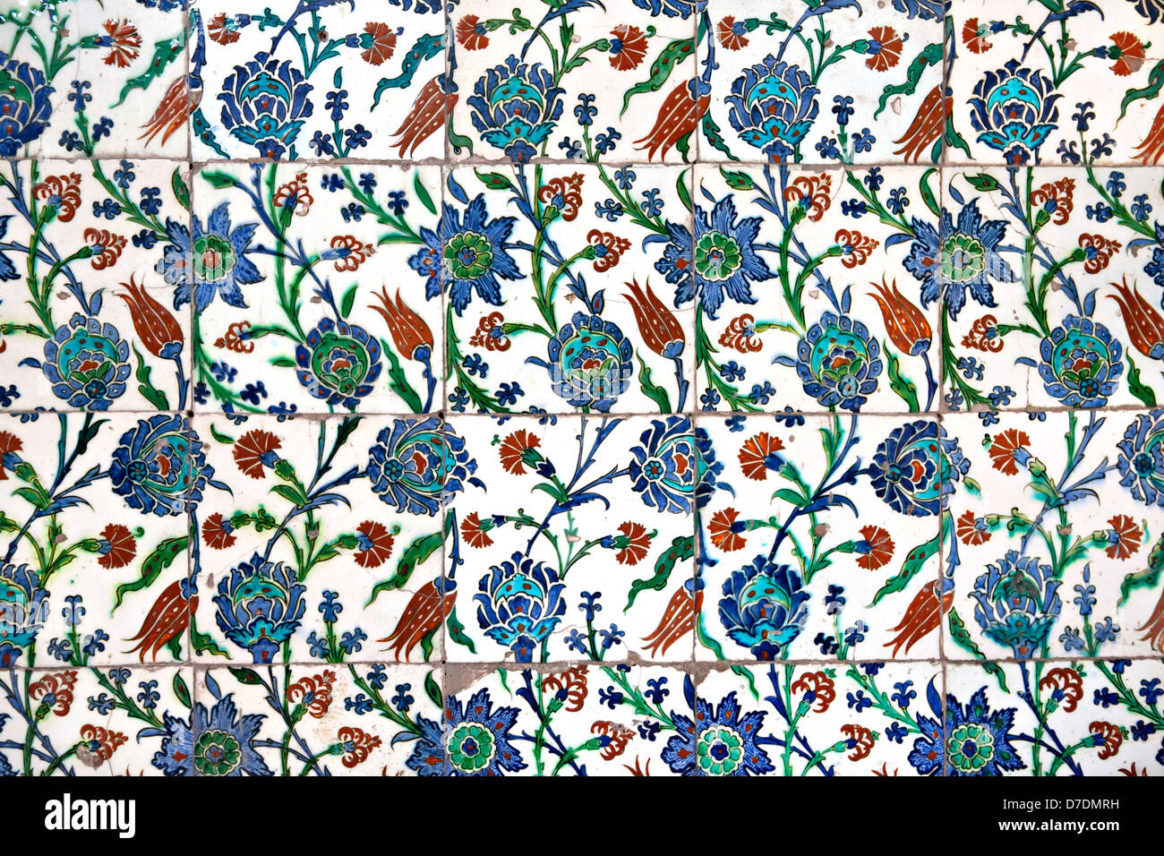 Wall tiles in Sultanahmet Mosque, Istanbul, Turkey - Stock Image