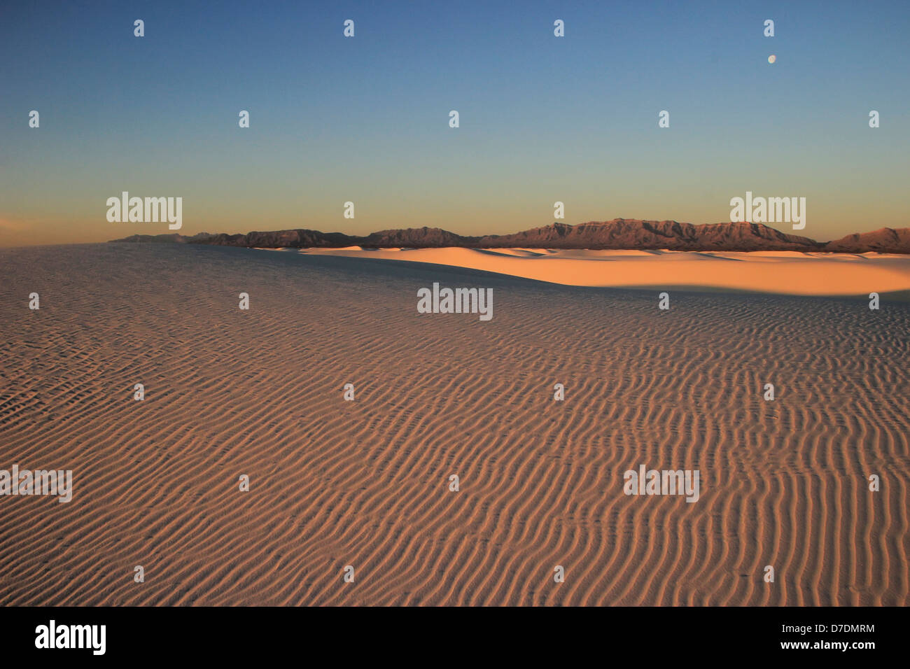 White Sands National Monument at sunset, New Mexico, USA - Stock Image