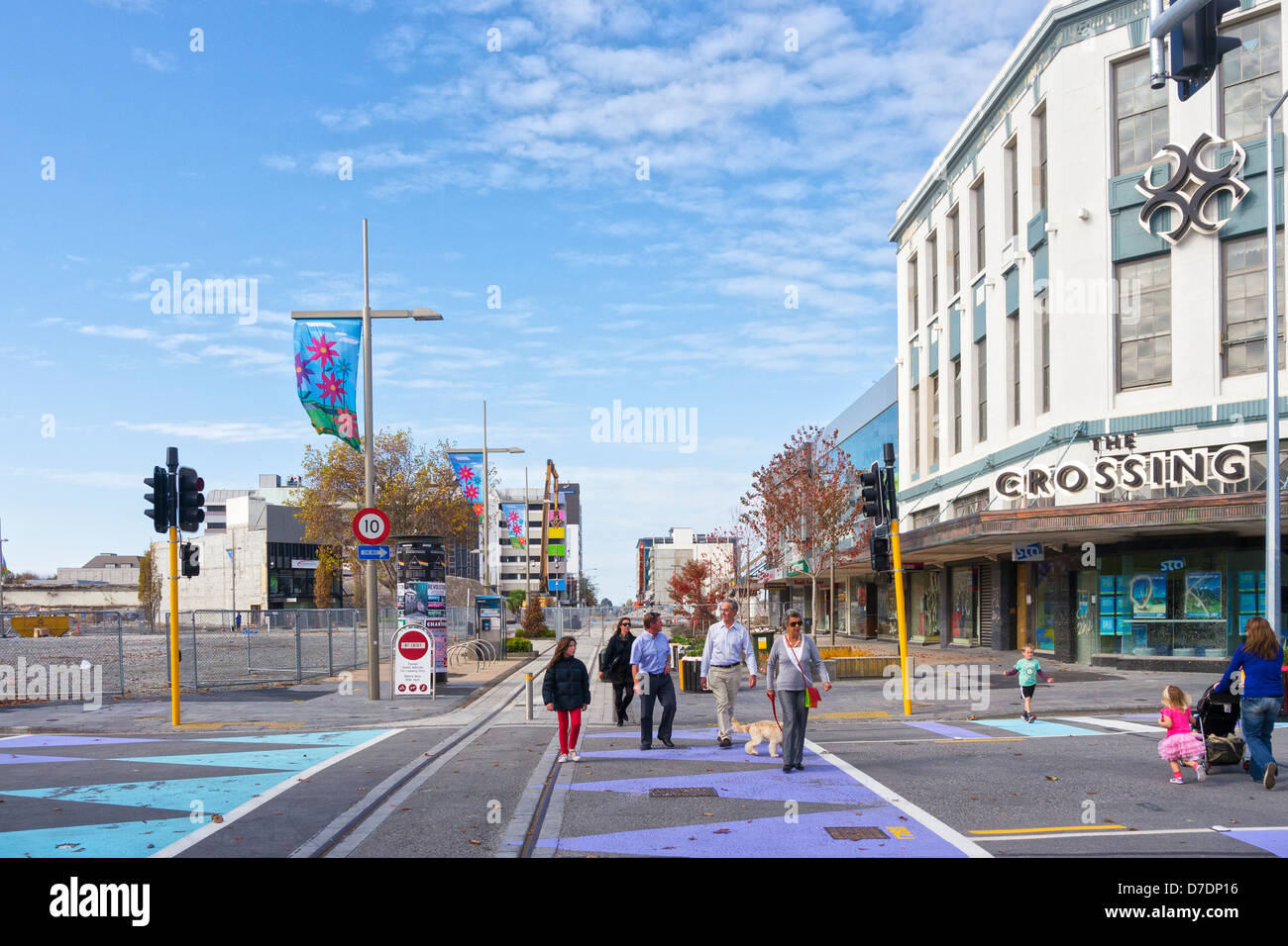 The fence is down (see CC07XW) - the fence which surrounded Christchurch CBD during the demolition phase following - Stock Image