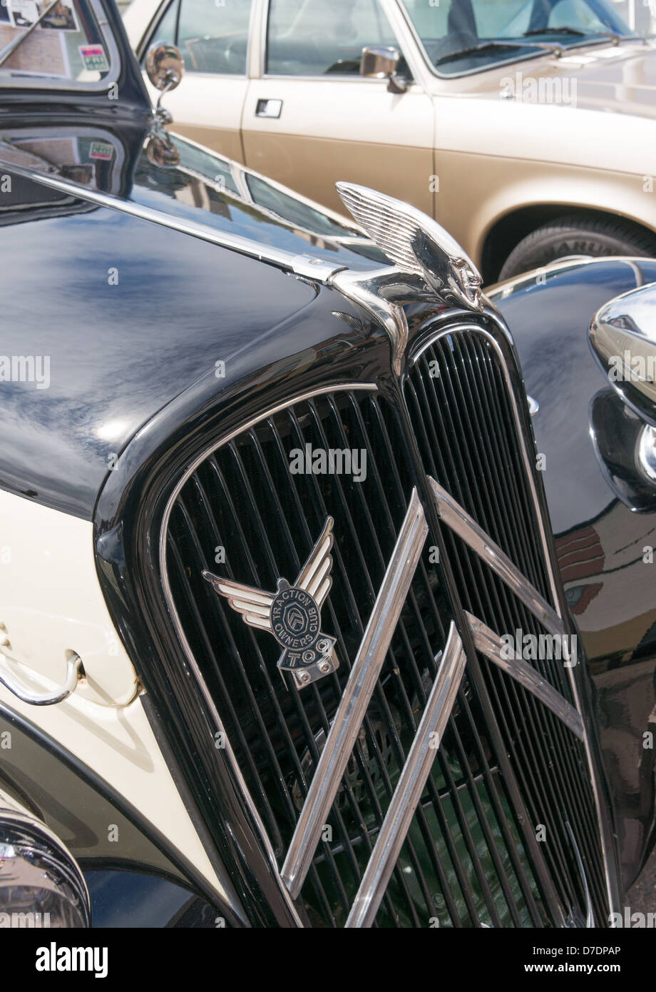 Detailed view Citroën Traction Avant Lincoln Classic Car Rally, England, UK - Stock Image