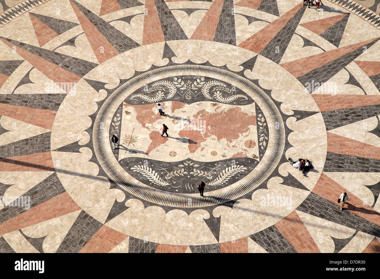 giant mosaic with Compass rose and world map at the Monument to the Discoveries Padrao dos Descobrimentos in Belem, - Stock Image