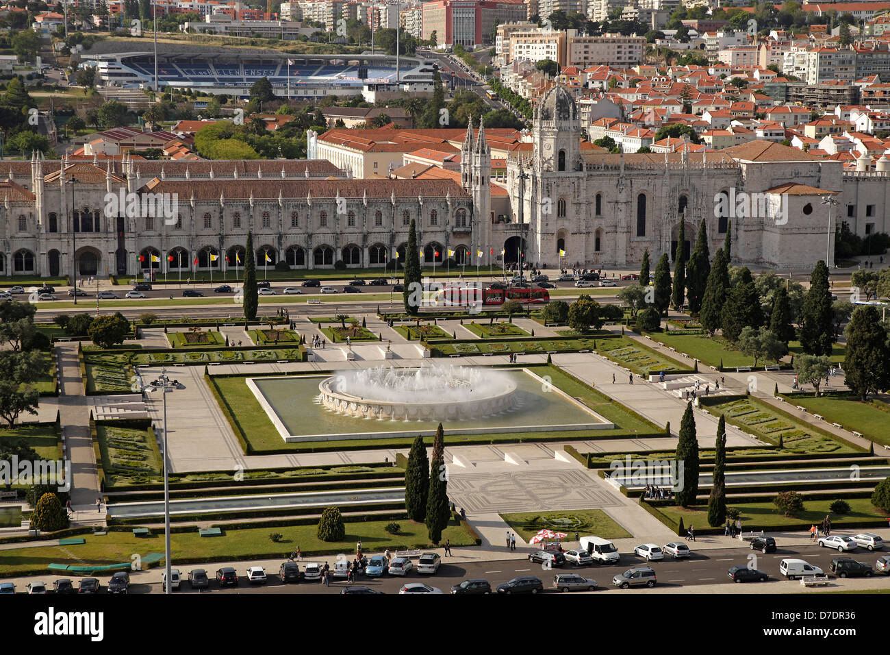 park and Jeronimos Monastery Mosteiro dos Jerominos in Belem seen from above, Lisbon, , Europe - Stock Image