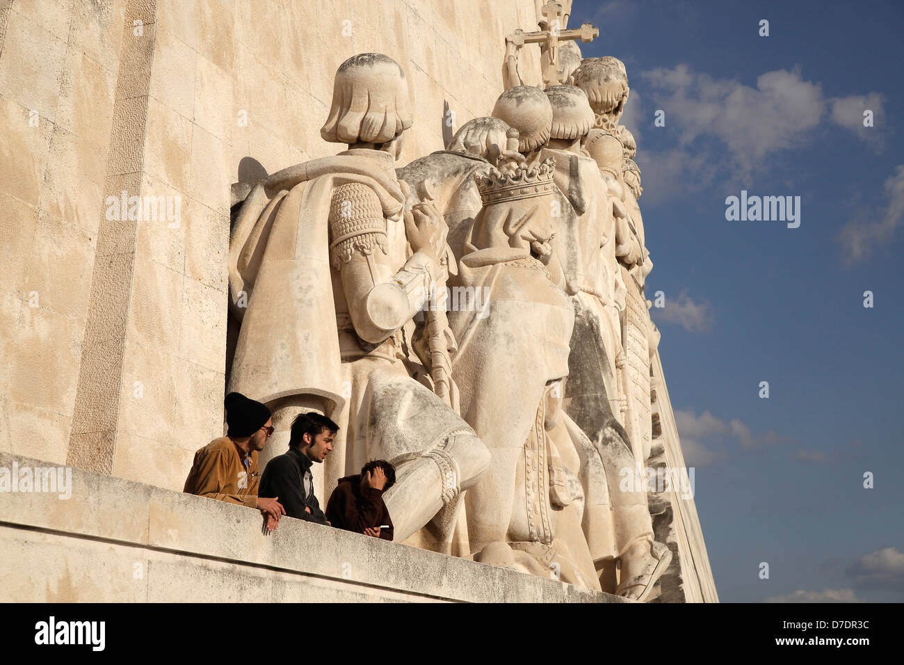 tourists at the Monument to the Discoveries Padrao dos Descobrimentos in Belem, Lisbon, , Europe - Stock Image