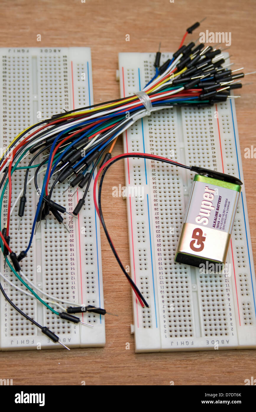 electronic jumper wires and solder-less breadboards with 9 ... on