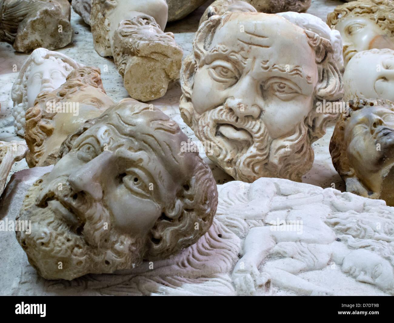 Imitation busts of historic personalities, Antakya, Turkey - Stock Image
