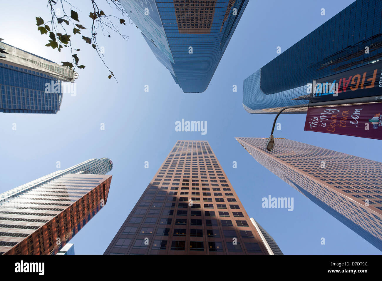 Worm's-eye view of Downtown Los Angeles skyscrapers, California, United States of America, USA - Stock Image