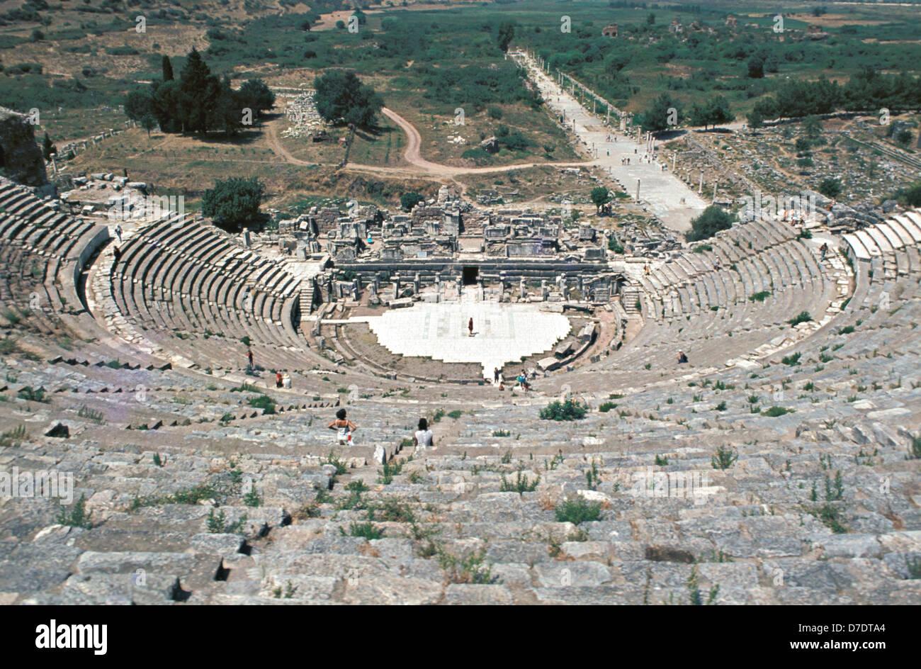 View of Theatre and Horbour street, Ephesus, Izmir, Turkey - Stock Image