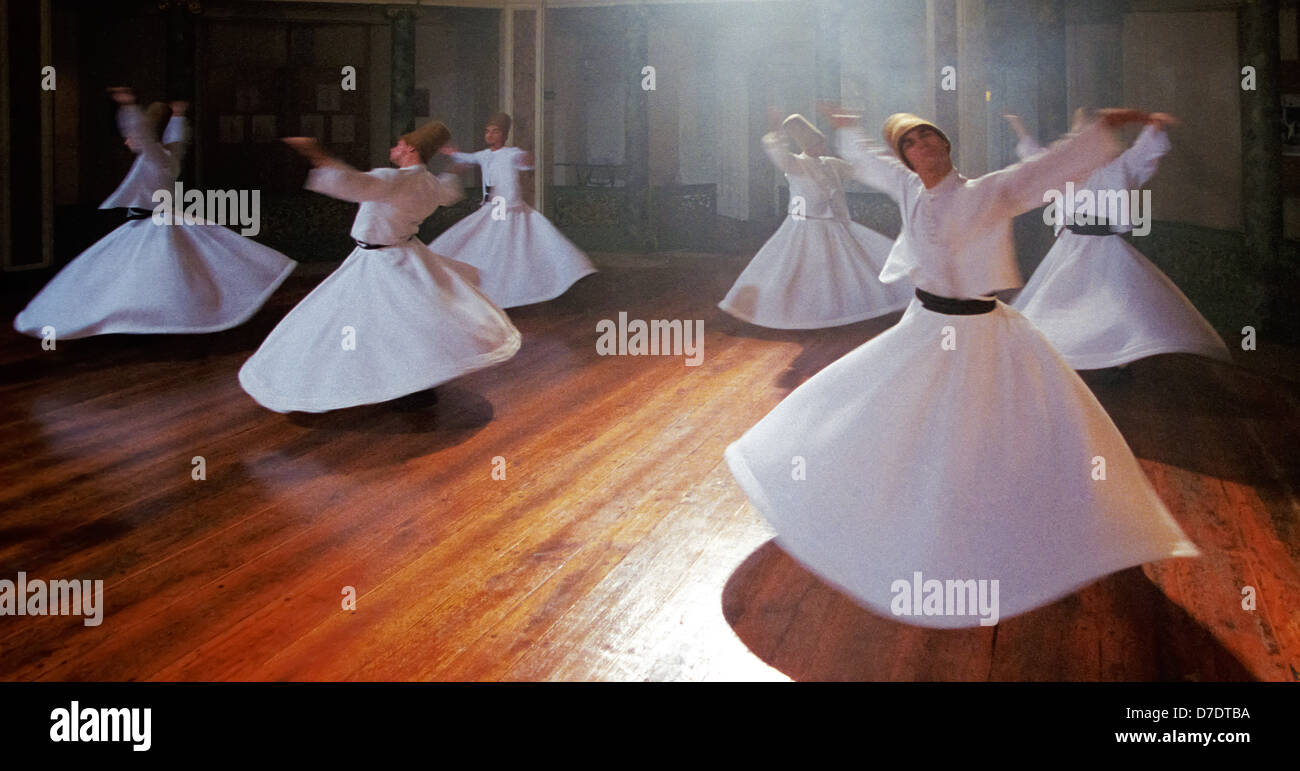 Traditional ceremony of dervishes, Galata Mevlevihanesi, Istanbul, Turkey Stock Photo
