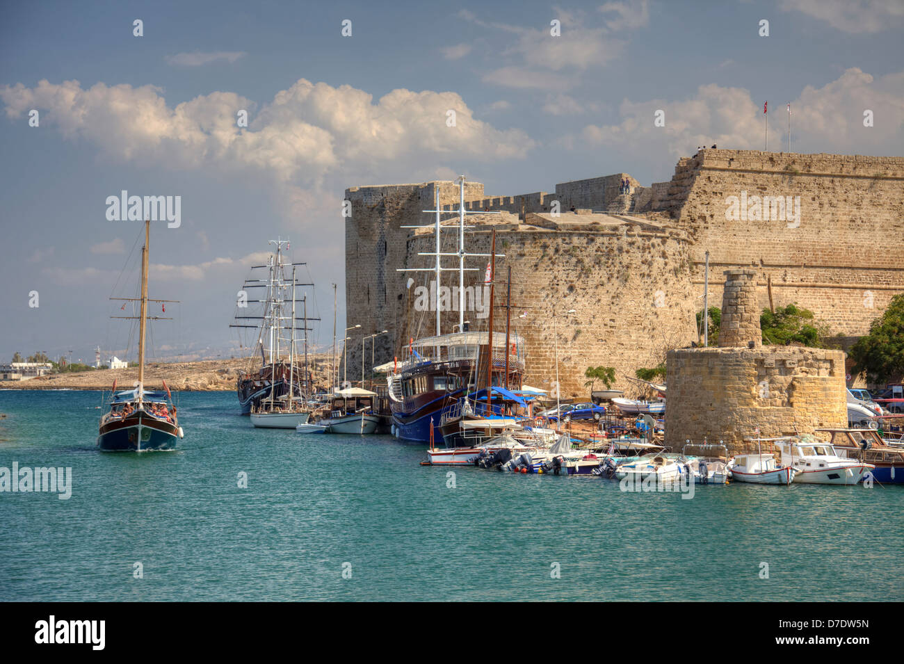 Medieval castle and harbour in Kyrenia, Cyprus. - Stock Image