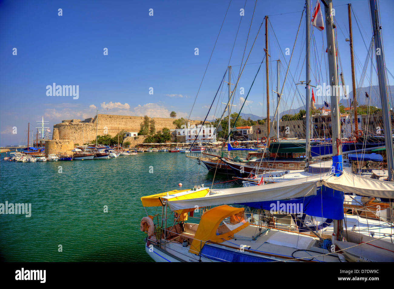 Medieval castle and old harbour in Kyrenia, Cyprus. - Stock Image