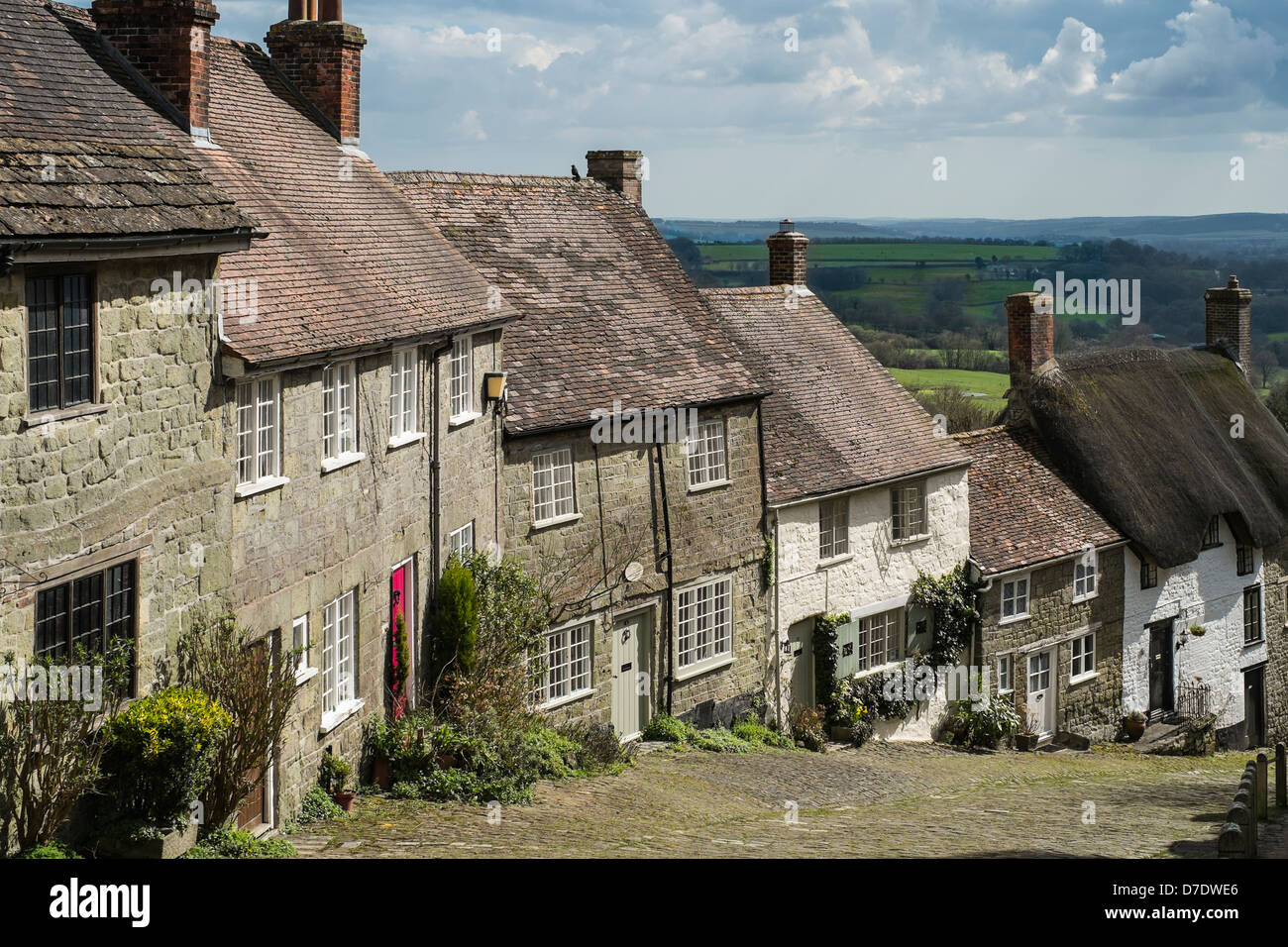 Gold Hill, Shaftesbury in April - Stock Image