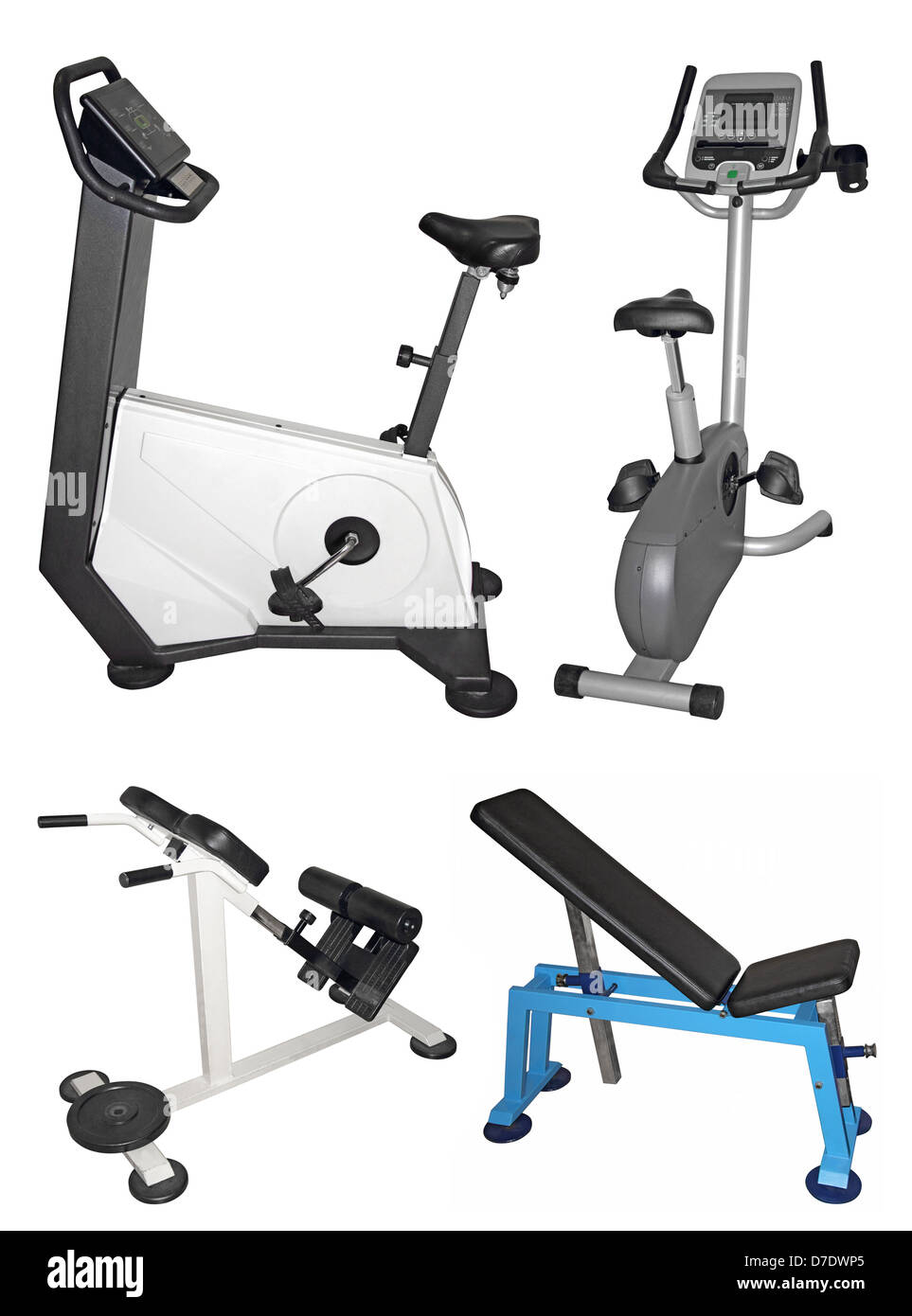Stationary bike and bench for exercising isolated on white background - Stock Image
