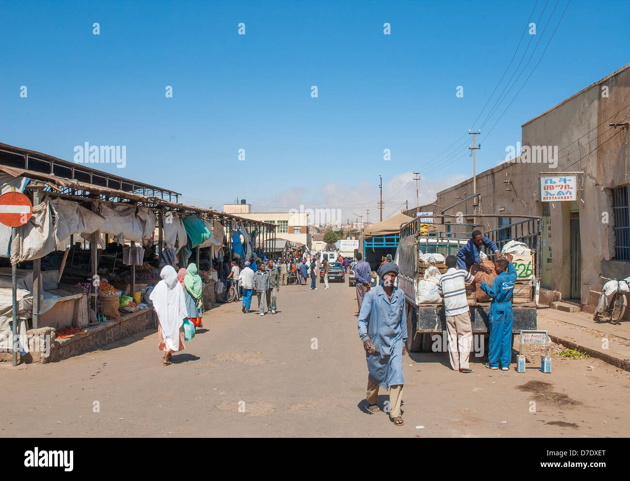central market street in asmara eritrea - Stock Image