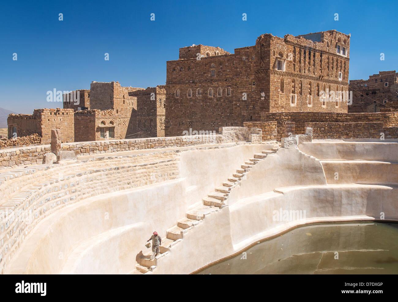 traditional water cistern in shibam village yemen - Stock Image