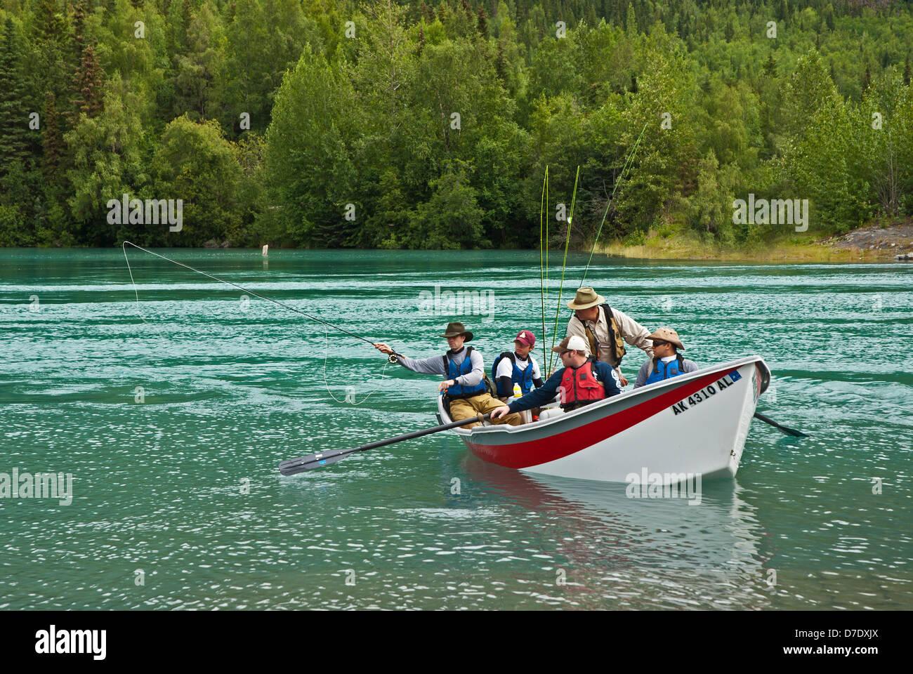 Kenai river salmon fishing - Stock Image