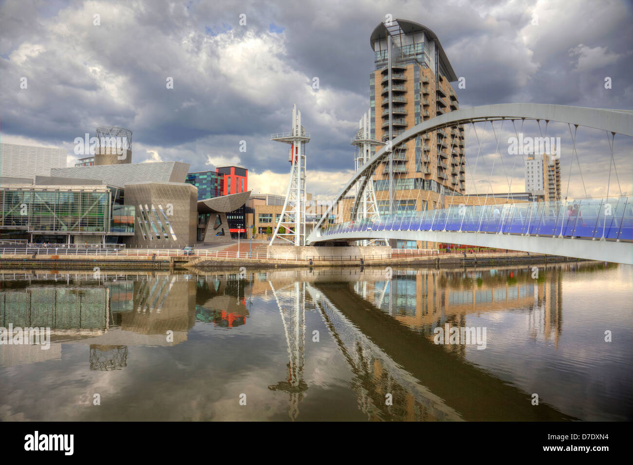 Manchester England city-scape at Salford Quays - Stock Image