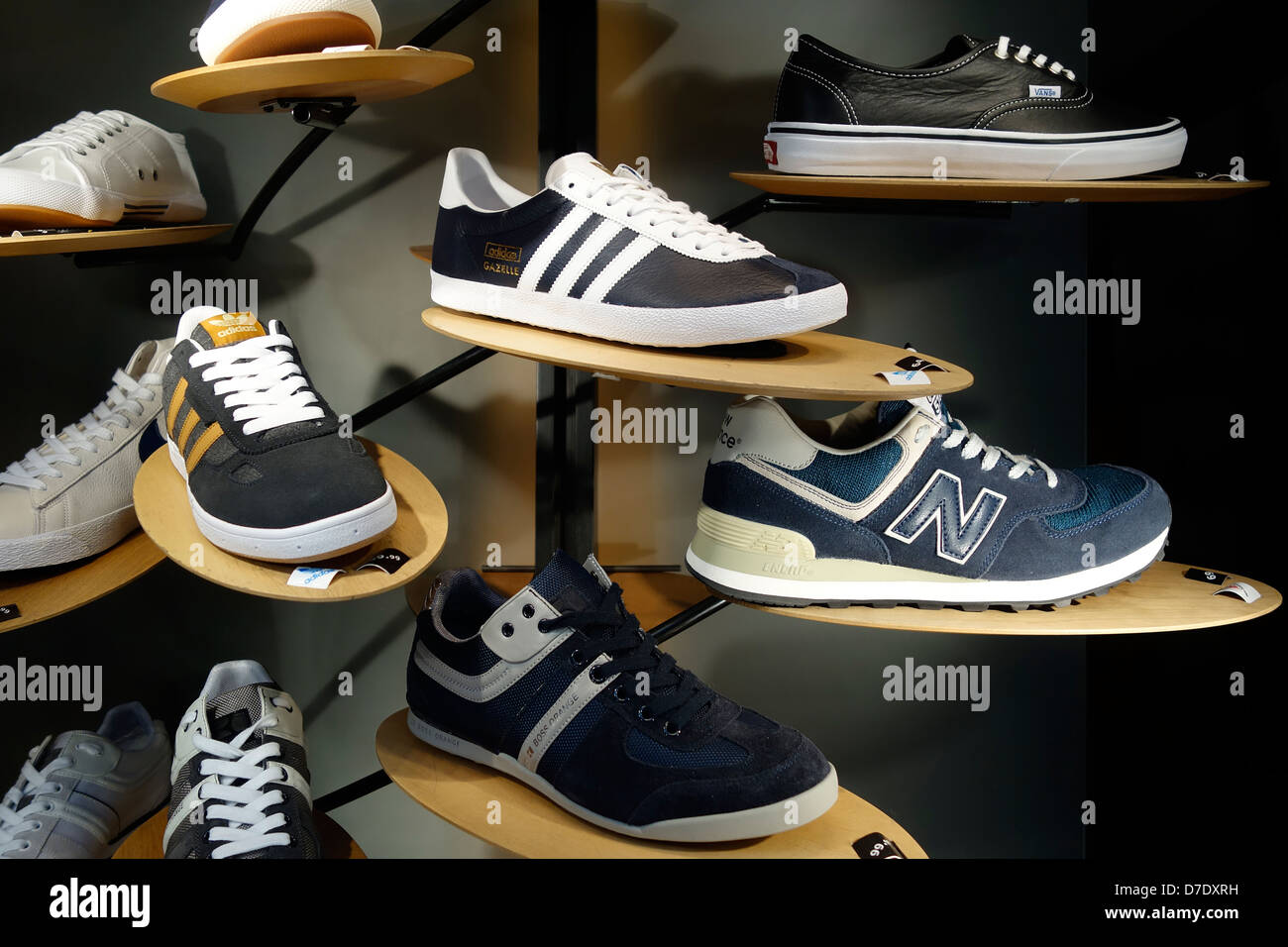 Trainers Shop Window Display Adidas - Stock Image