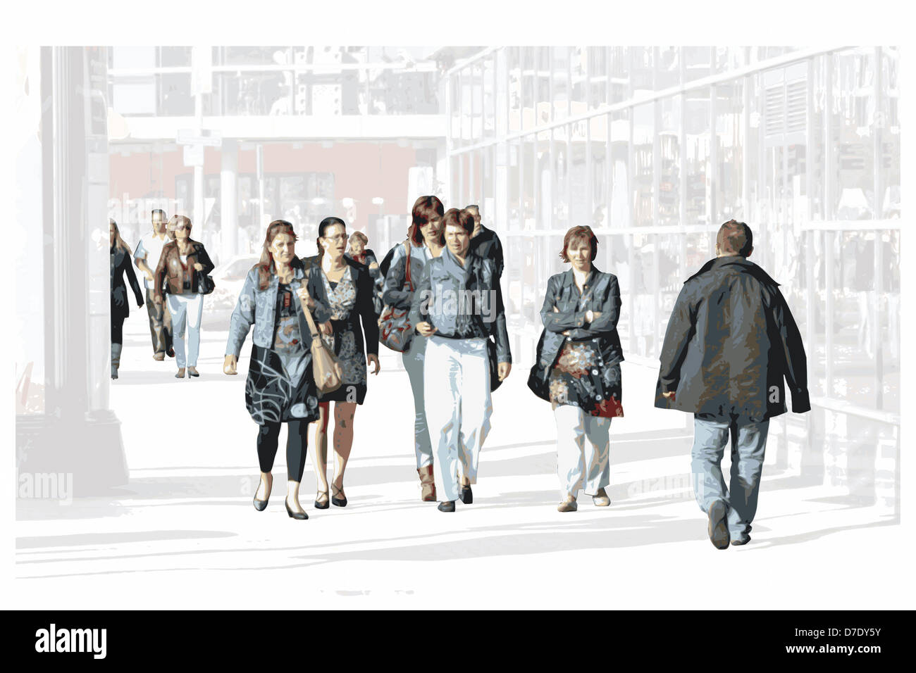 Bustling shoppers - Stock Image