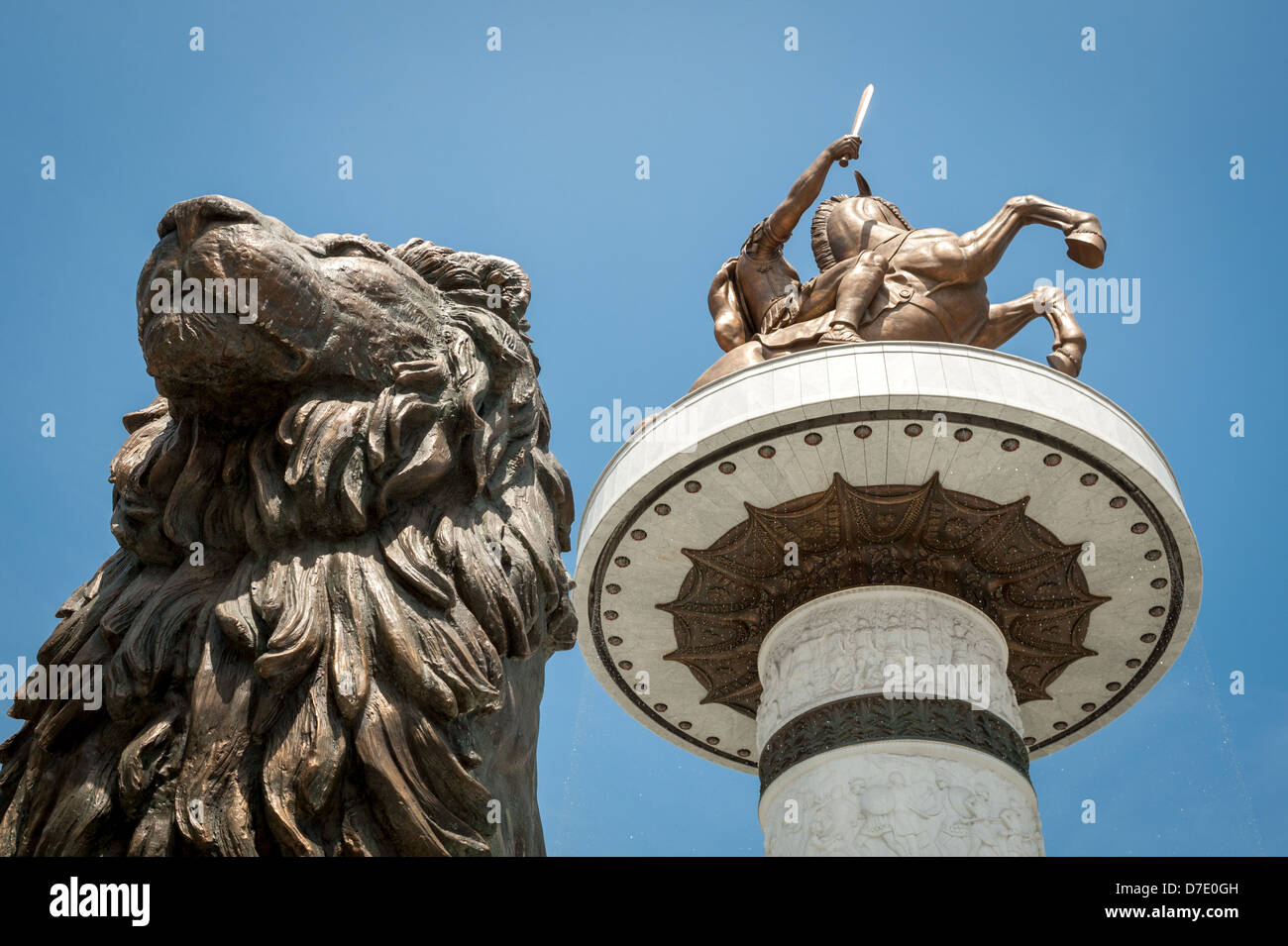Statue of Alexander the Great with statue of lion in front of it, in Skopje, Macedonia (FYROM) - Stock Image
