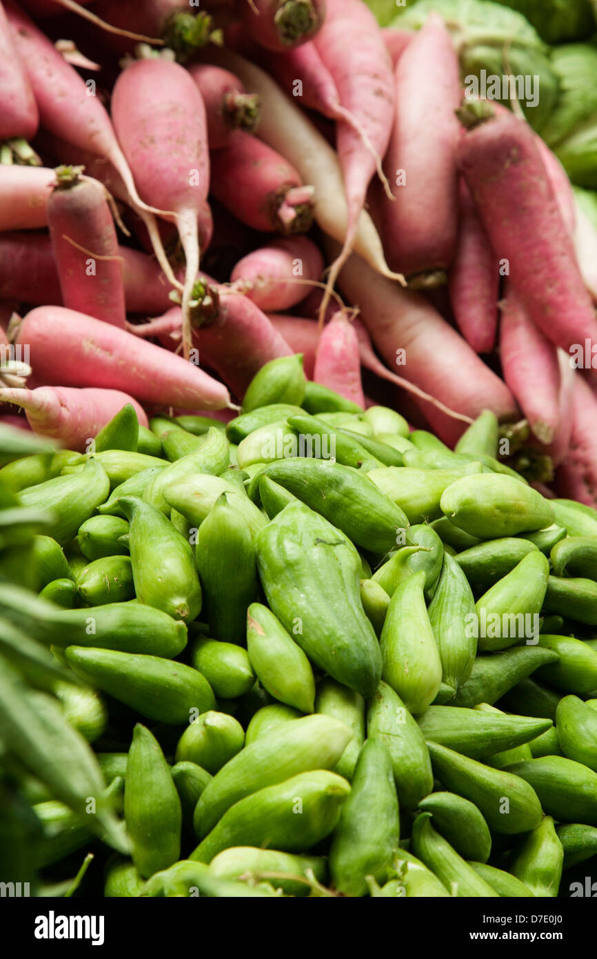 Produce at the open market in Thimphu, Bhutan. - Stock Image