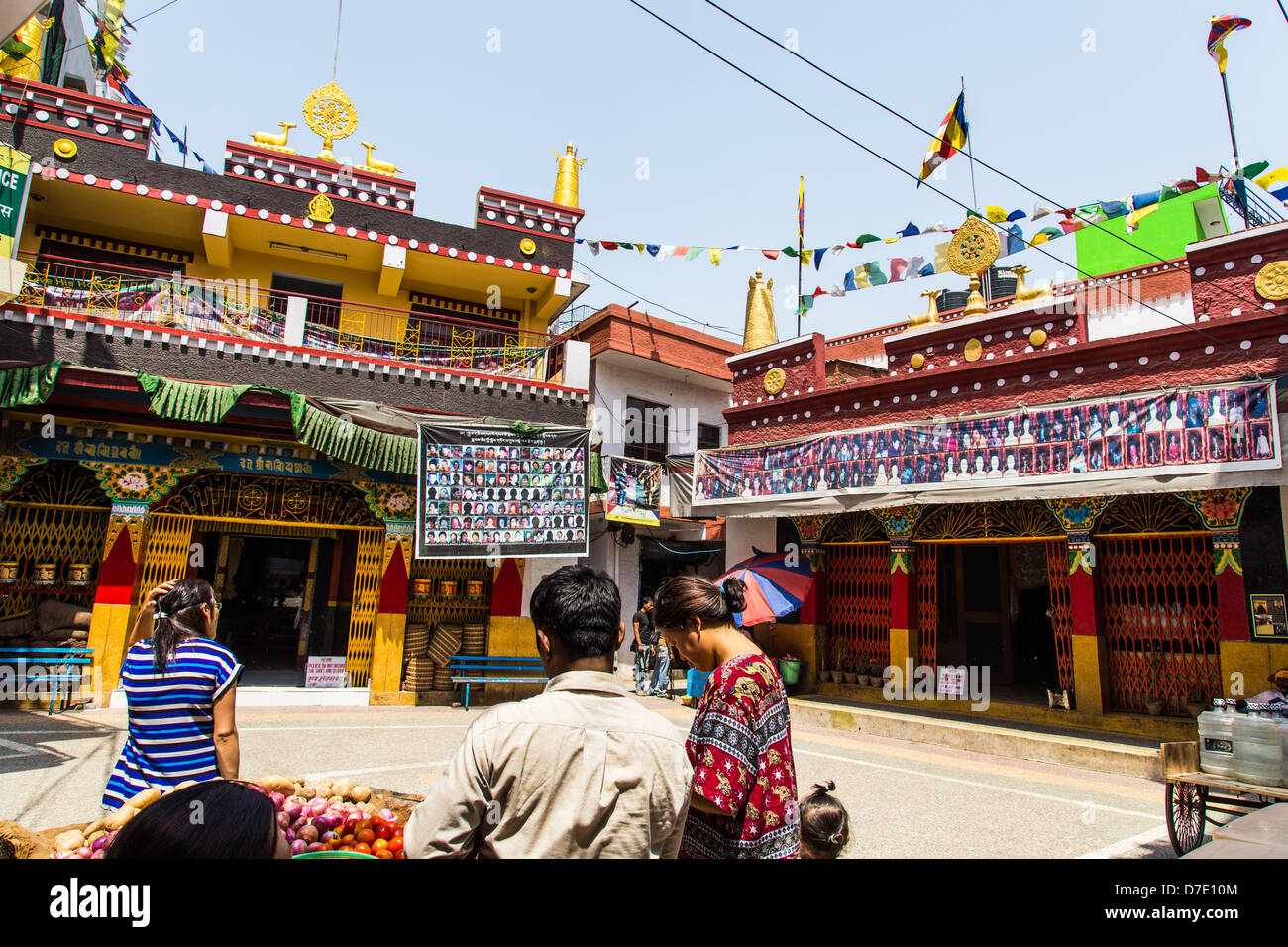 Temple in Majnu-ka-tilla, Tibetan refugee colony in Delhi, India - Stock Image