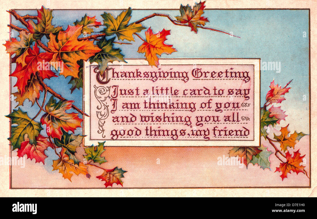 Thanksgiving Greeting Just A Little Card To Say I Am Thinking Of