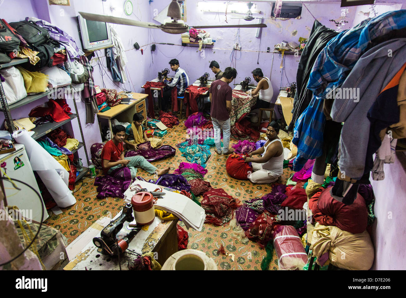 Textiles manufacturing in Old Delhi, India - Stock Image