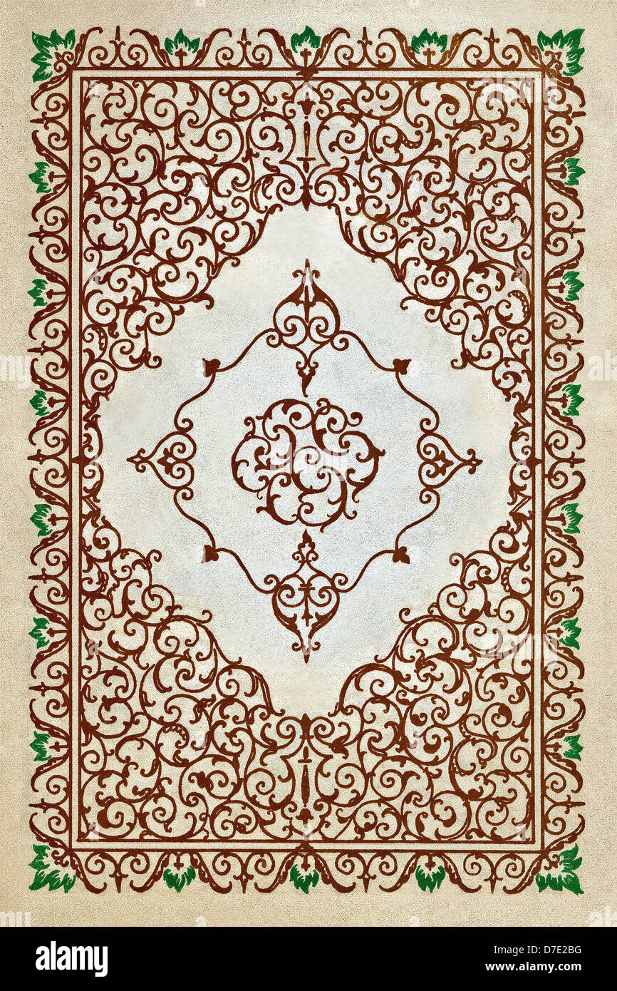 This page decoration accompanied a printing of the Rubaiyat of Omar Kayyam that dates to the early 1900s. - Stock Image