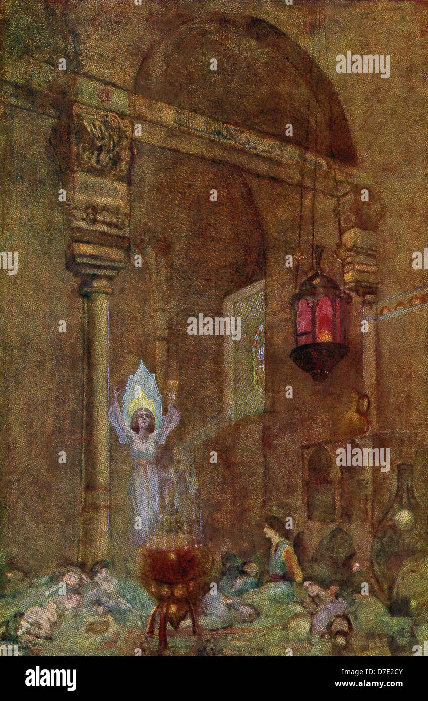 This scene accompanied second stanza on Dawn in the Rubaiyat of Omar Kayyam that dates to the early 1900s. - Stock Image