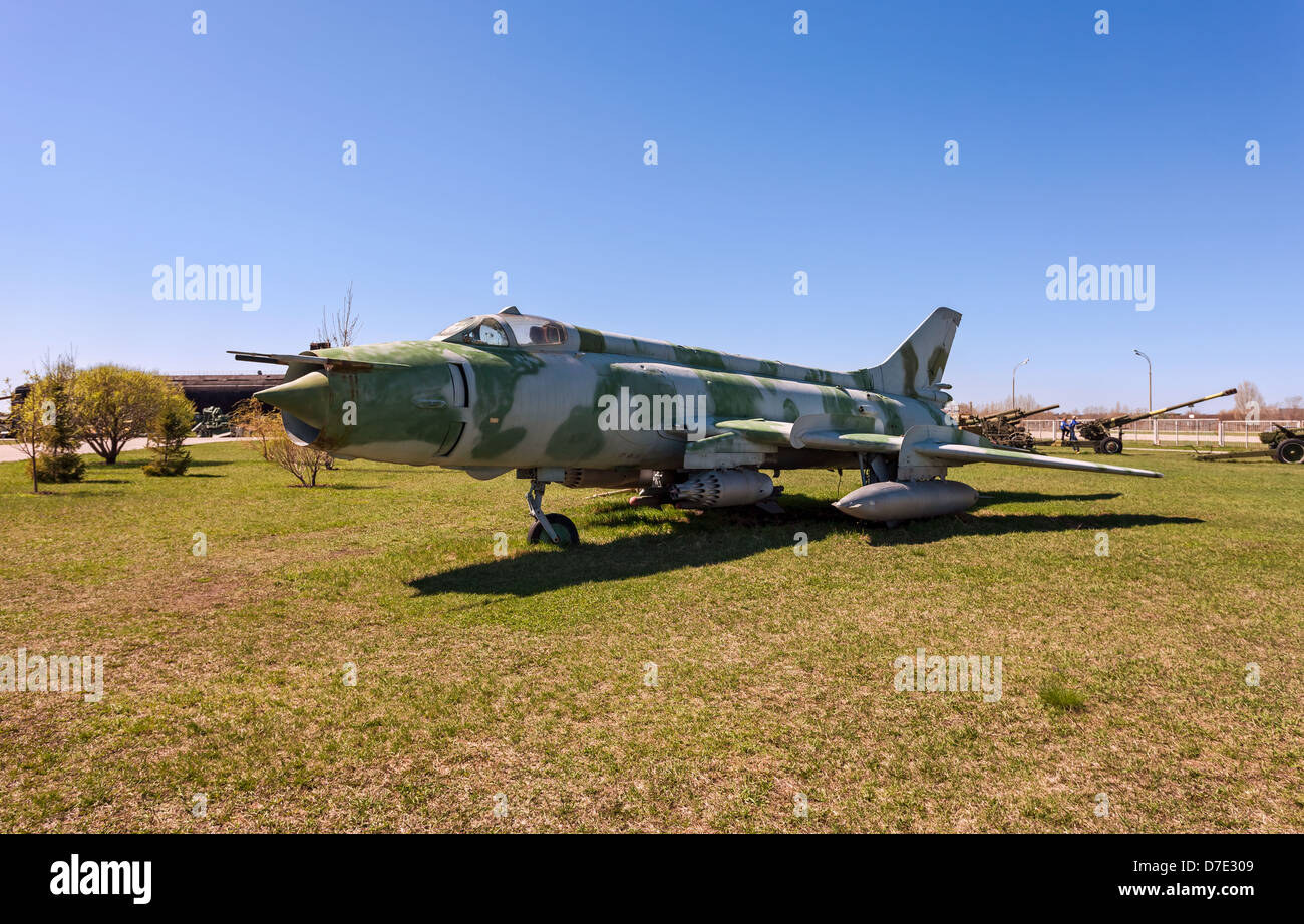 Russian military jet fighter plane Sukhoy Su-17 - Stock Image