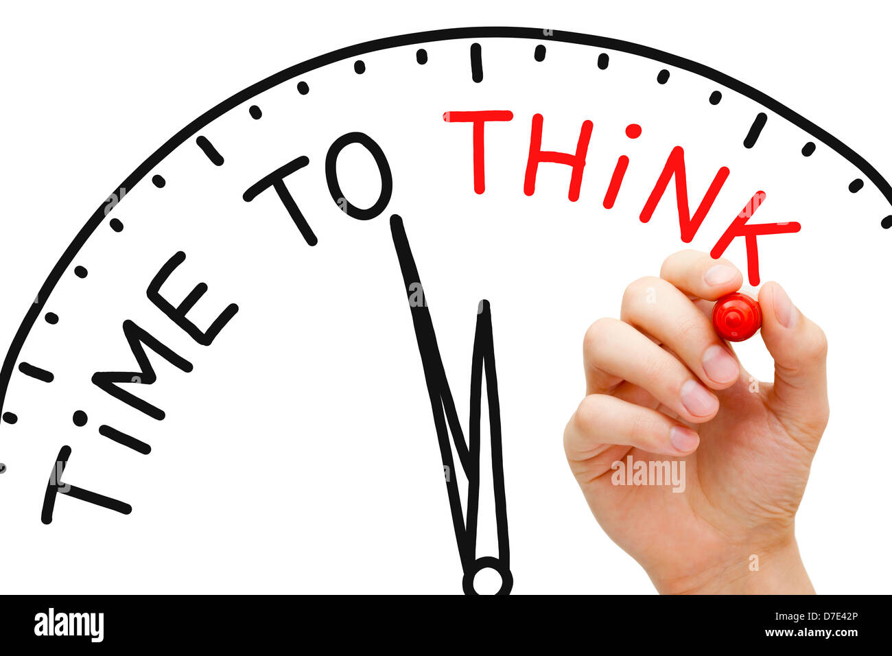 Hand writing Time to Think concept with red marker on transparent wipe board. - Stock Image