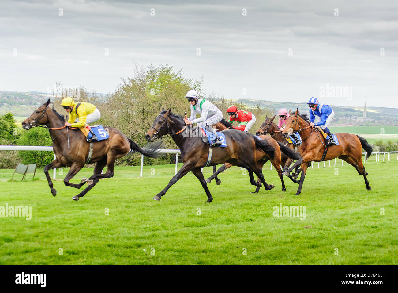Salisbury Racecourse is a flat racecourse in the United Kingdom featuring thoroughbred horse racing, 3 miles southwest Stock Photo