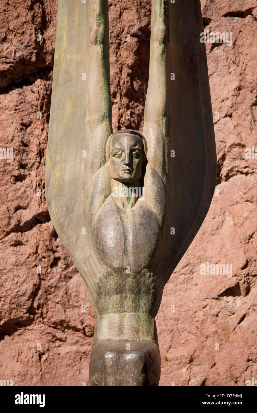 "angels statue ""Winged Figures of the Republic"" by Oskar J.W. Hansen at Hoover Dam, United States of America, USA Stock Photo"